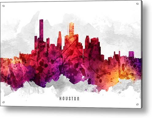 Aged Pixel - Houston Texas Cityscape 1... Print