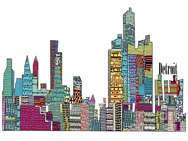 Bri Buckley  - Detroit city skyline Print