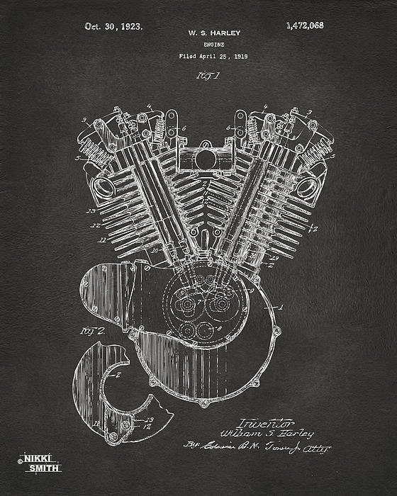 Nikki Marie Smith - 1923 Harley Engine Patent... Print