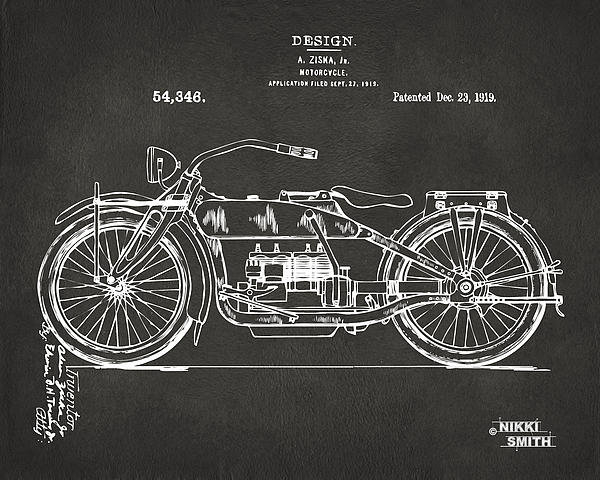 Nikki Marie Smith - 1919 Motorcycle Patent Ar... Print