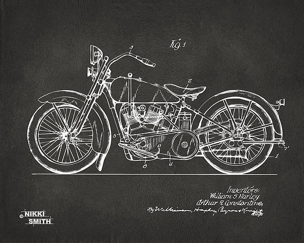 Nikki Marie Smith - 1928 Harley Motorcycle Pa... Print