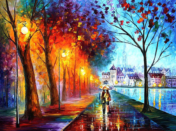 Leonid Afremov - City By The Lake - PALETT... Print