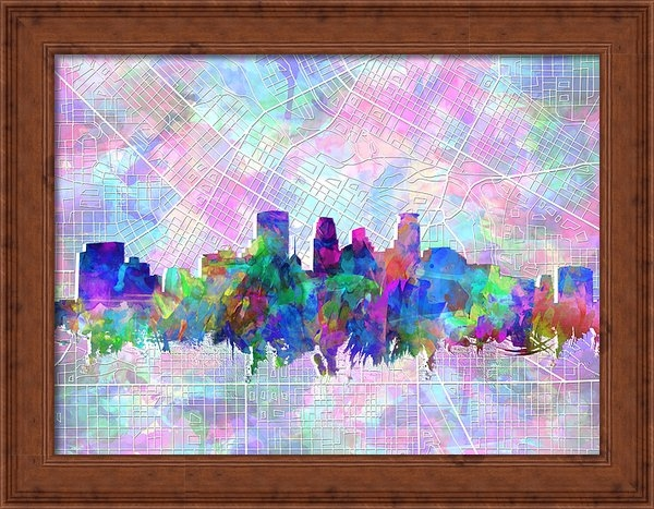 MB Art factory - Minneapolis Skyline Water... Print