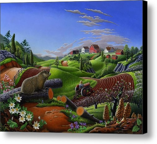 Walt Curlee - Farm Folk Art - Groundhog... Print