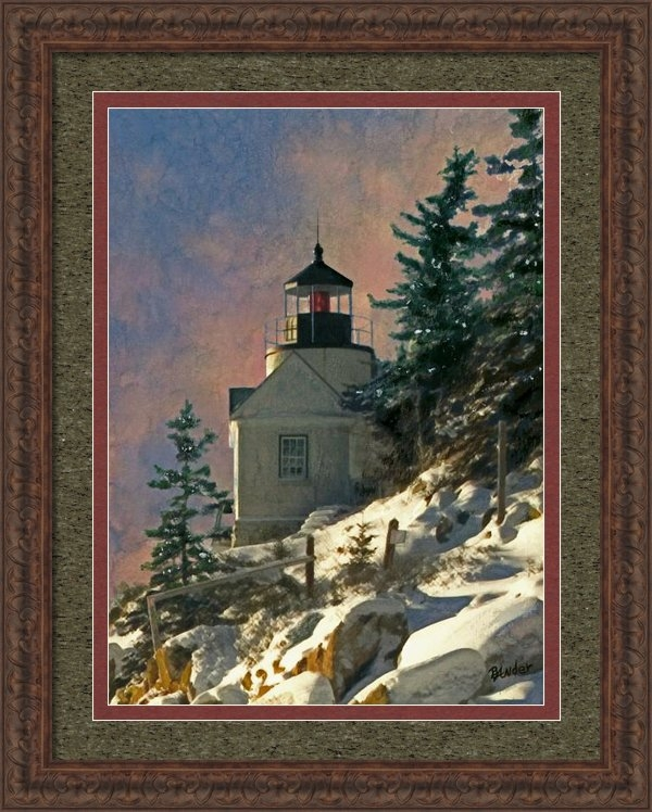 Brent Ander - Bass Harbor Light in a Wi... Print