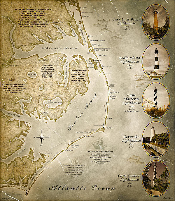 Scott Geib - Outer Banks NC Map Antiqu... Print