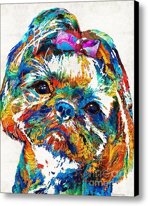 Sharon Cummings - Colorful Shih Tzu Dog Art... Print